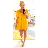 Yellow Jacquard Ruffle Puff Sleeve Scoop Back Dress