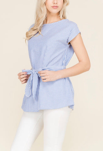 Seersucker Cap Sleeve Top with Tie Waist