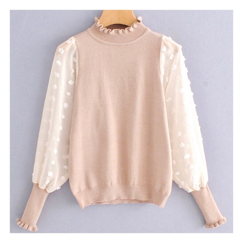 Blush & Ivory Chiffon Contrast Ruffle Collar & Sleeve Sweater with Sleeve Embroidery (Restock Ships Tues 10/16)