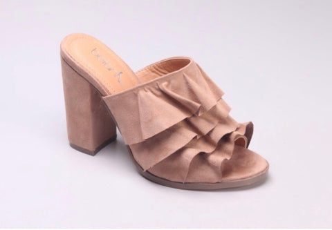 Neutral Accordion Mule Sandal with Block Heel