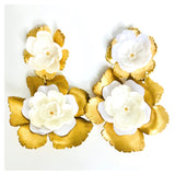 HANDMADE Gold Filled & Hand Tooled Brass Impressionistic Flower Earrings