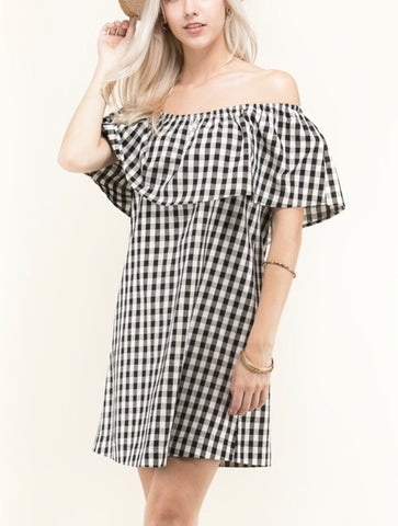 Black and White Gingham Linen Off the Shoulder Shift Dress