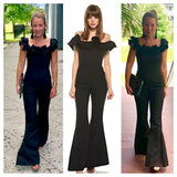 Black Ruffle Trim Bell Bottom with Tailored Waist Jumpsuit