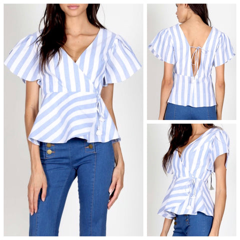 Blue White Wide Stripe Peplum Top with Open Back & Tassel Tie Waist