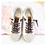 White & Gold Leather Vintage Style Star Sneakers with Taupe Suede Toe & Leopard Laces