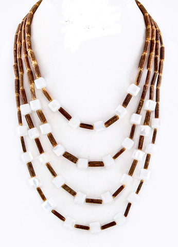 Wood and White Bead Multi Strand Necklace