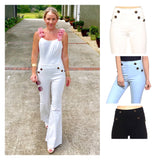 Black, Baby Blue OR White Sailor Button Bell Bottom Pants