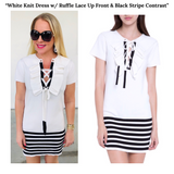 White Short Sleeve Dress with Ruffle Lace Up Front & Black Stripe Contrast