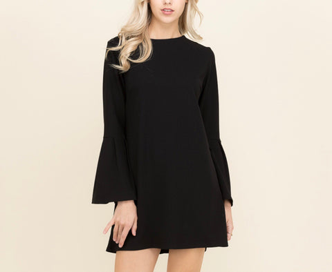 Black Long Sleeve Bell Sleeve Shift Dress