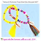 Yellow & Multicolor Puka Shell Disc Bracelet SET