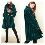 Emerald Green Satin Lined Rib Stitched Faux Chinchilla Coat