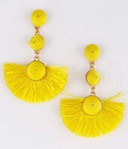 Yellow Triple Ball Drop Fan Tassel Earrings