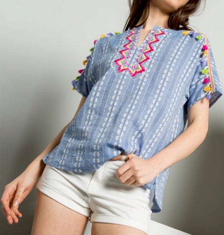 Blue Short Sleeve Tunic with Pink Embroidery and Tassels  - FINAL SALE -