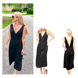 Black V-Cut Midi Jumpsuit