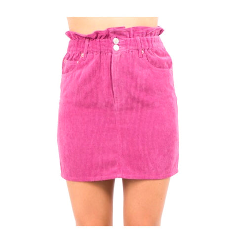 French Rose Corduroy Ruffle Waist Skirt