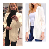 Ivory Chevron Pattern Open Front Knit Cardigan