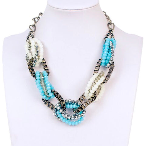 Gunmetal and Turquoise Woven Chain Link Necklace