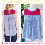 Blue White Pinstripe Poppy Lace Embroidered High Low Sleeveless Blouse with Keyhole Back