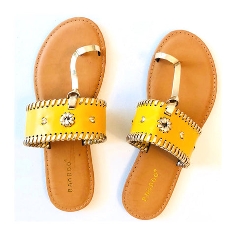 Marigold & Metallic Gold Embroidered Sandals