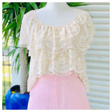 Ivory Lace Tiered Hem Top with Keyhole Back
