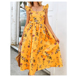 Marigold Floral Print Flutter Sleeve Midi Dress with Pleated Hem
