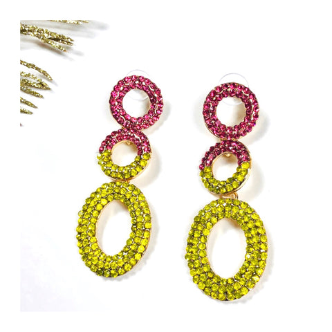 Pink & Gold Crystal Gemstone Triple Circle Chainlink Earrings