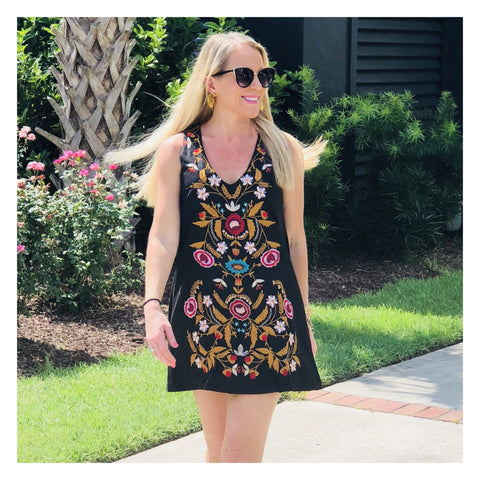 Black Embroidered Boho Minidress