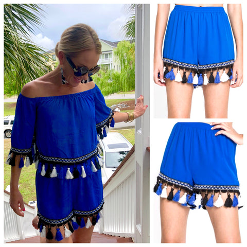 Royal Blue Shorts with Black & White Tassels (Matching Top Sold Separately)