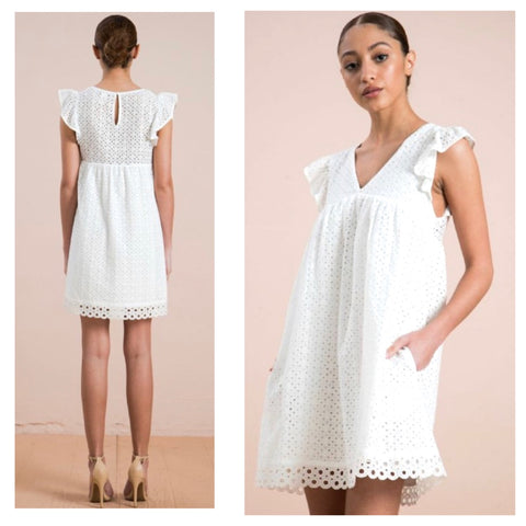 White Eyelet Flutter Sleeve Dress with Circle Lace Trim, Keyhole Back & POCKETS