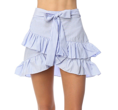 Seersucker Print Ruffle Skirt with Tie Front