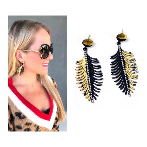 Rhinestone & Metallic Gold Painted Feather Earrings in Black or Teal