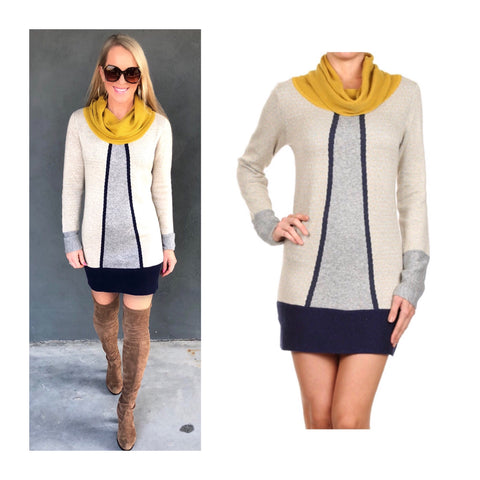 Taupe Mustard Metallic Grey & Blue Color-block Cowl Neck Sweater Dress