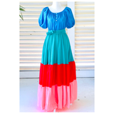 Teal Pink Blue & Coral Tiered Hem Maxi Dress with Pockets