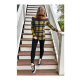 Mustard & Grey Tartan Knit Long Sleeve Top