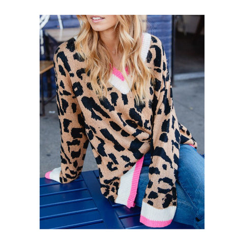 Taupe & Bubblegum Pink Leopard Knit Oversized Varsity Sweater