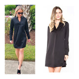 Black V-Neck Structured Satin Shirtdress with Button Cuffed Sleeves