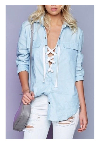 Lace Up Chambray Button Down Tunic Top