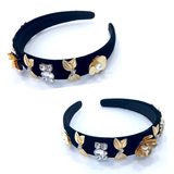 Black Velvet Headband with Gold Flower & Rhinestone Appliques