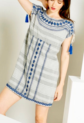 Taupe and Blue Short Sleeve Embroidered Shift Dress with Tassel Detail