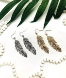 Yellow Gold or White Gold Rhinestone Feather Earrings