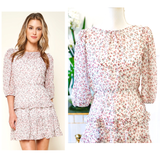 White & Pink Floral Print Ruffle Hem Dress with Semi Sheer 3/4 Balloon Sleeves