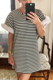 Black Stripe Shift Dress with White Flutter Sleeves