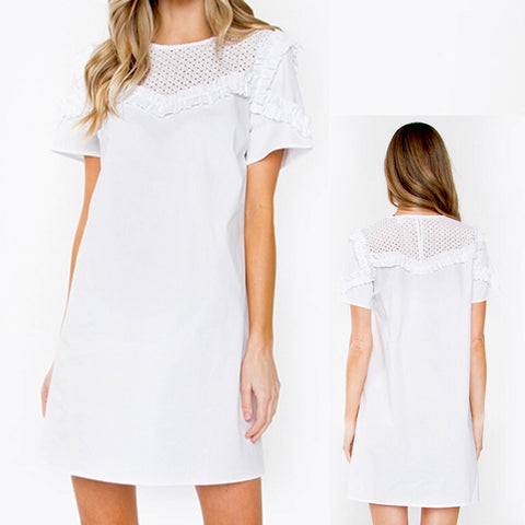White Short Sleeve Eyelet Shift Dress with Ruffle Bust & Shoulder Detail & Back Zip
