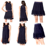 Navy Scalloped Hem Lace Skirt