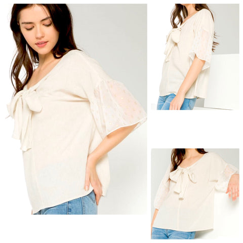 Light Taupe Linen Blend Blouse with METALLIC GOLD Flecks