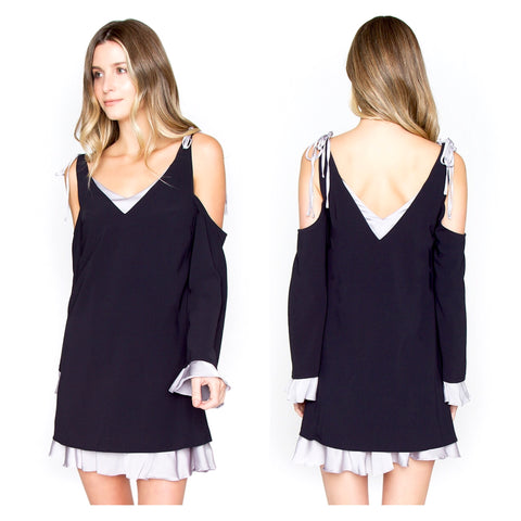 Navy & Pewter Contrast Cold Shoulder Ruffle Hem Long Sleeve Dress with Shoulder Ties & V-Cut Back