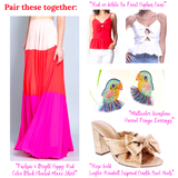 Fuchsia & Bright Poppy Red Color Block Pleated Maxi Skirt