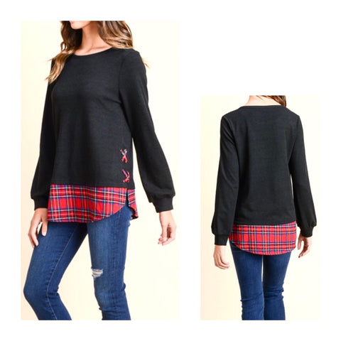 Black Knit Top with Tartan Shirttail Contrast & Faux Lace Up Sides