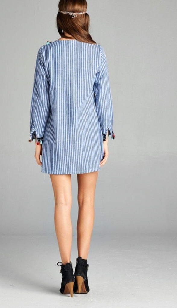 0fc81b68f37 ... Blue White Stripe Embroidered Long Sleeve Tunic Dress with Pom Pom and  Tassels