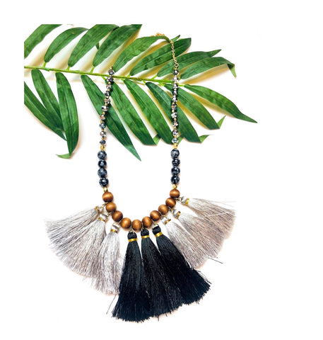 Black and Grey Tassel Necklace On Wood & Bead Chain